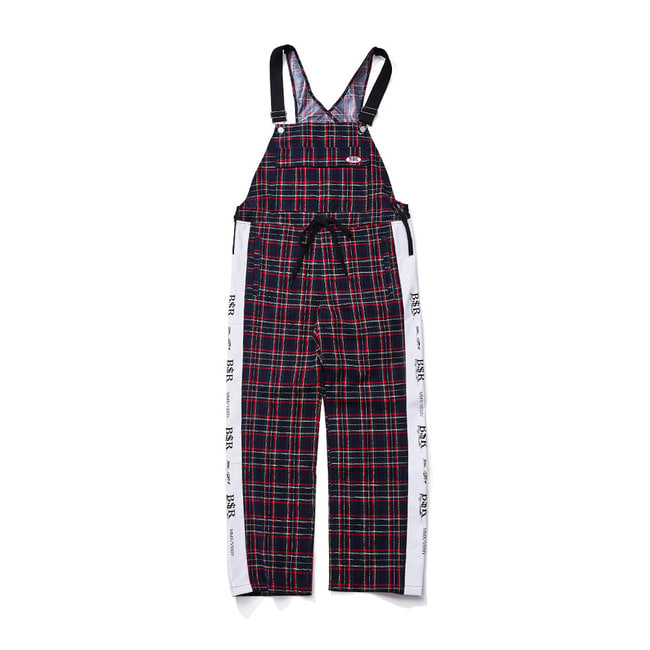 BSRABBIT BSR WATERPROOF OVERALL TRACK PANTS CHECK NAVY