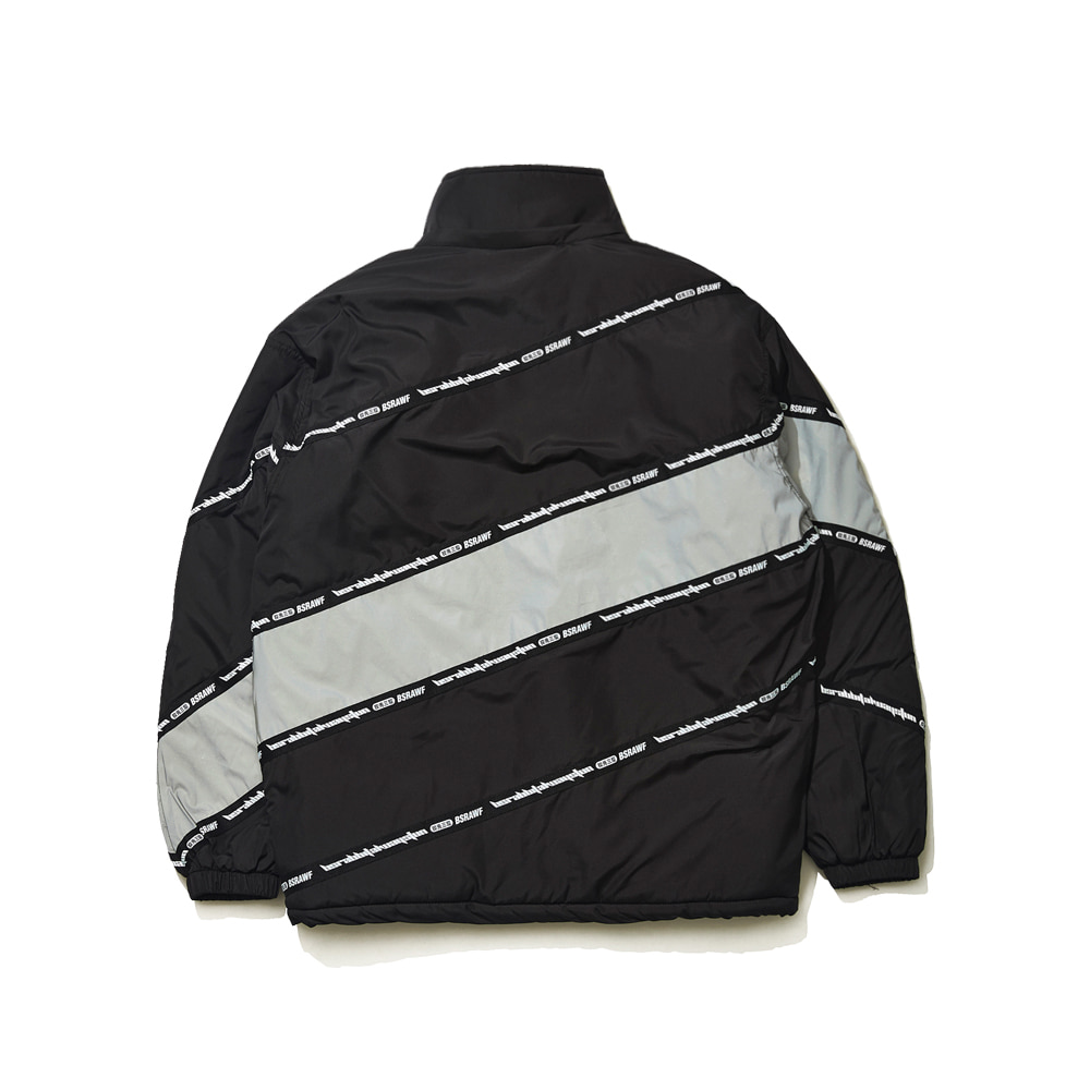 BSRABBIT DIAGONAL LINE PADDING JACKET BLACK