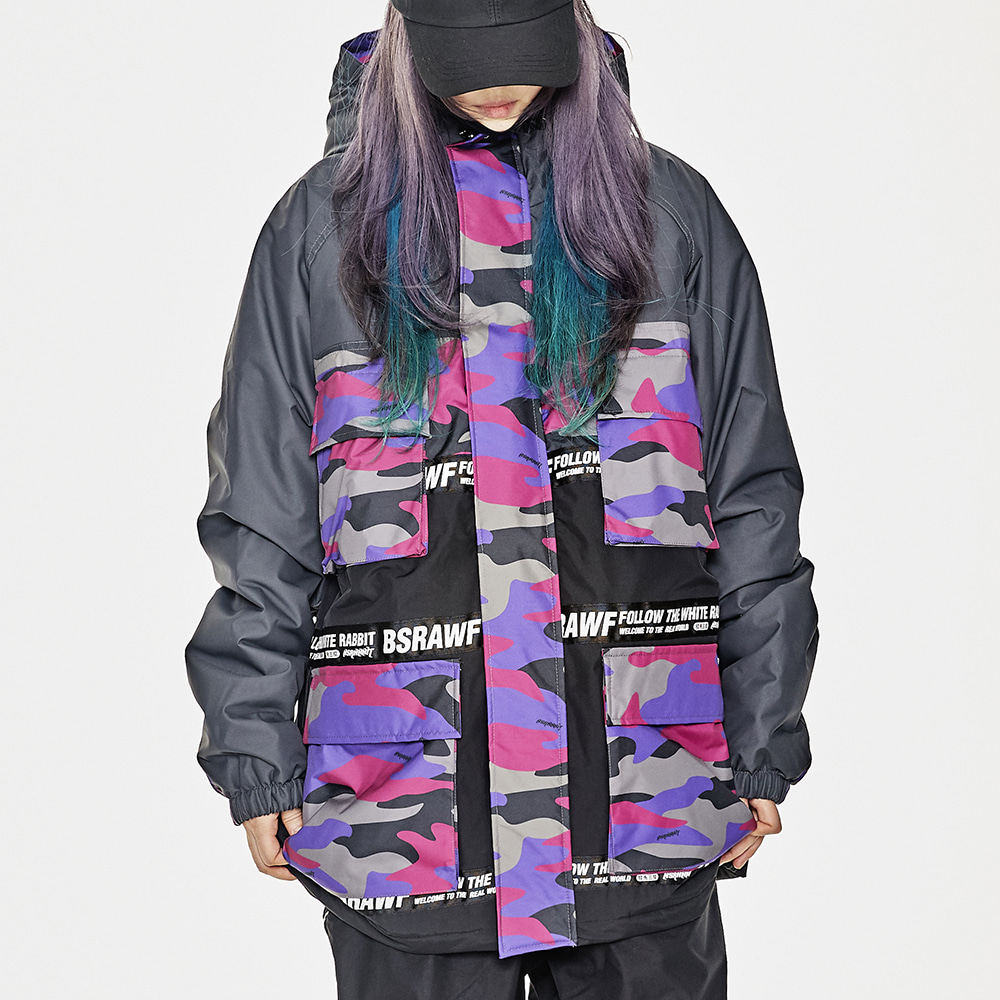 BSRABBIT MATCHLESS CARGO POCKET JACKET PURPLE CAMO