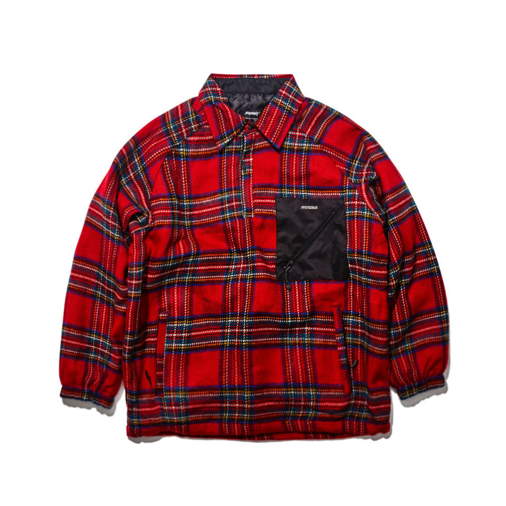 BSRABBIT BETTER CHECK ANORAK SHIRT RED CHECK