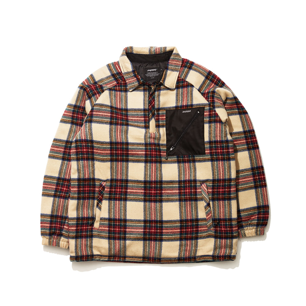 BSRABBIT BETTER CHECK ANORAK SHIRT BEIGE CHECK