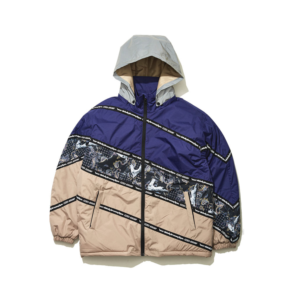 BSRABBIT DIAGONAL LINE PADDING JACKET NAVY/BEIGE