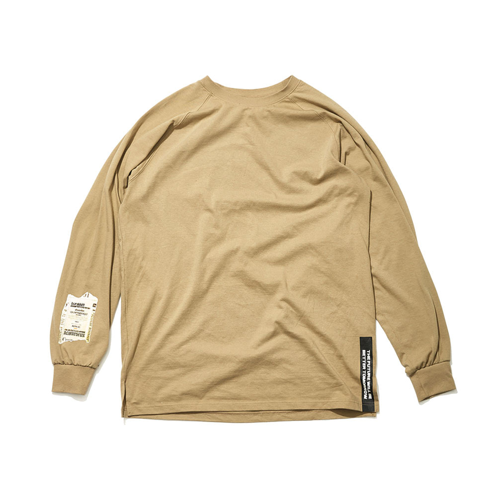 BSRABBIT ALWAYSFUN LONG SLEEVE TEE BEIGE