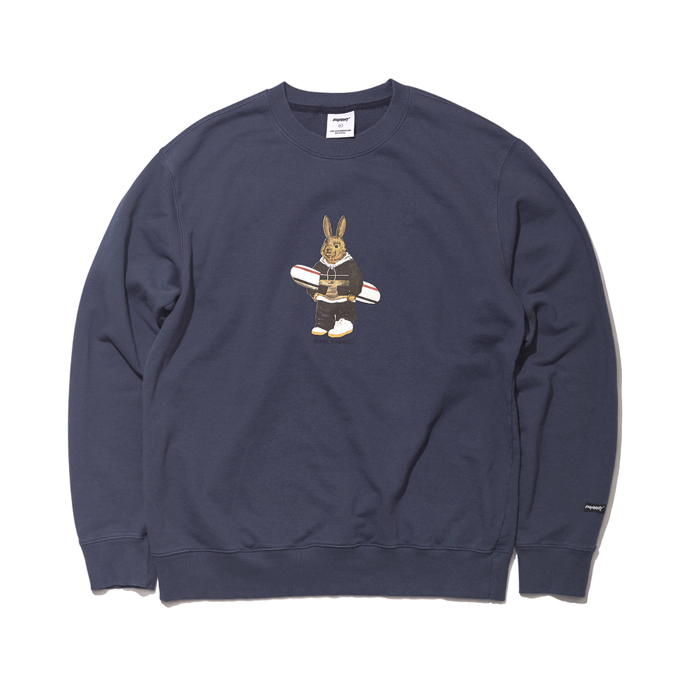 자체브랜드 ALWAYS BEAR RABBIT WELCOME DRY SWEAT SHIRT NAVY