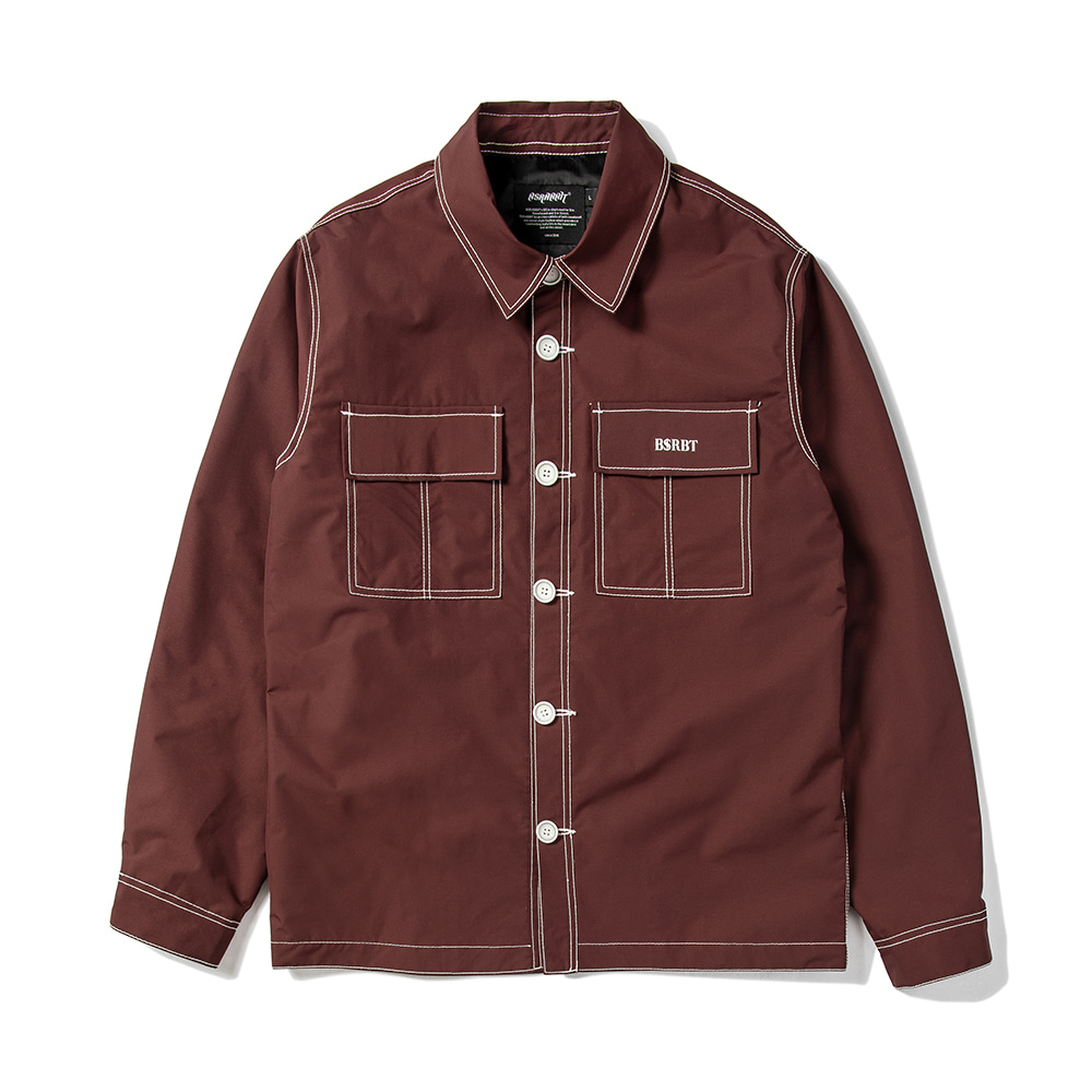 자체브랜드 STITCHES BUTTON COACH JACKET BURGUNDY