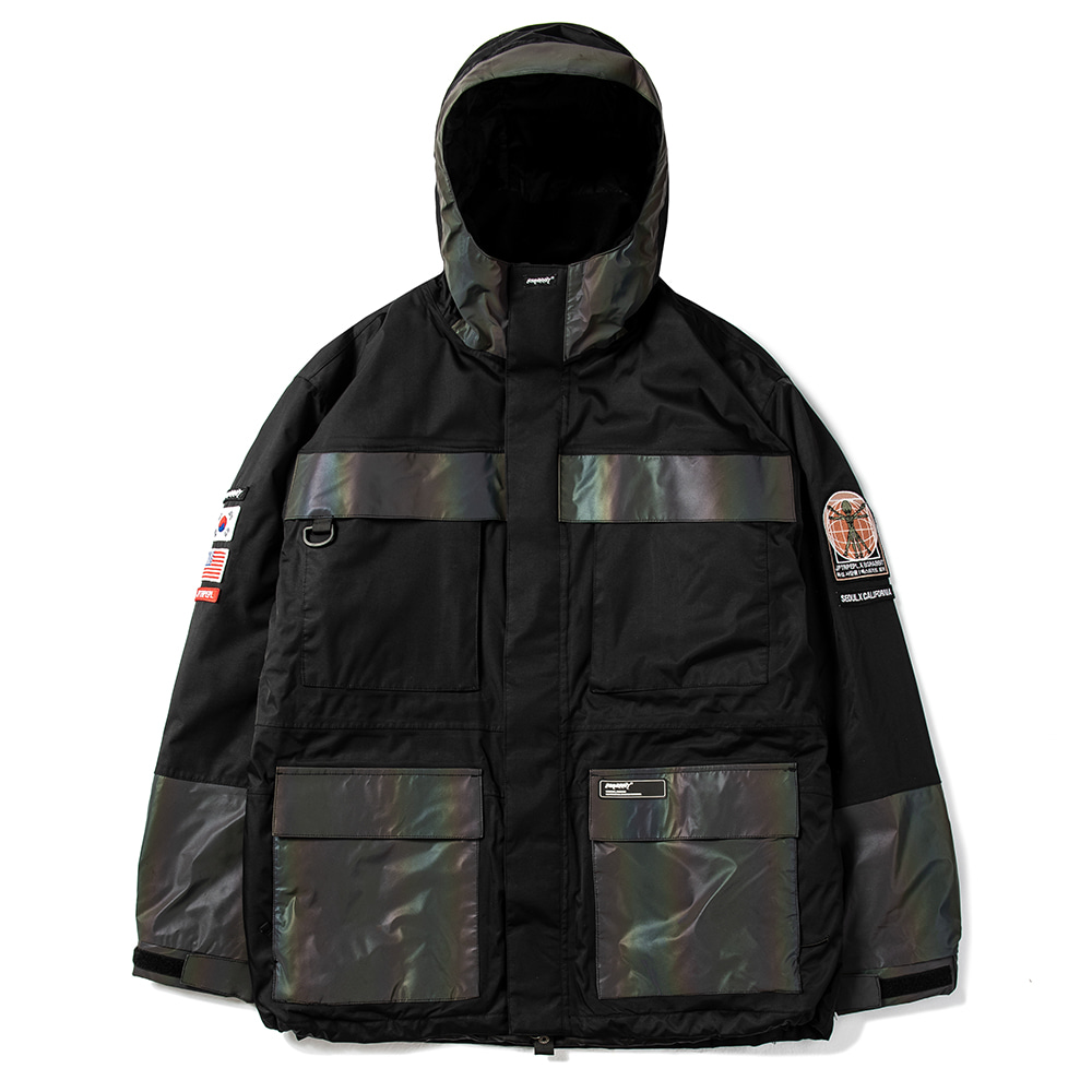 자체브랜드 JPXBR MOUNTAIN POW JACKET BLACK WITH RAINBOW REFLECTIVE