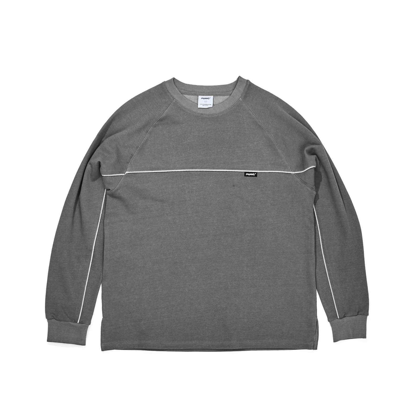 자체브랜드 LINE WASHING CREWNECK BLACK