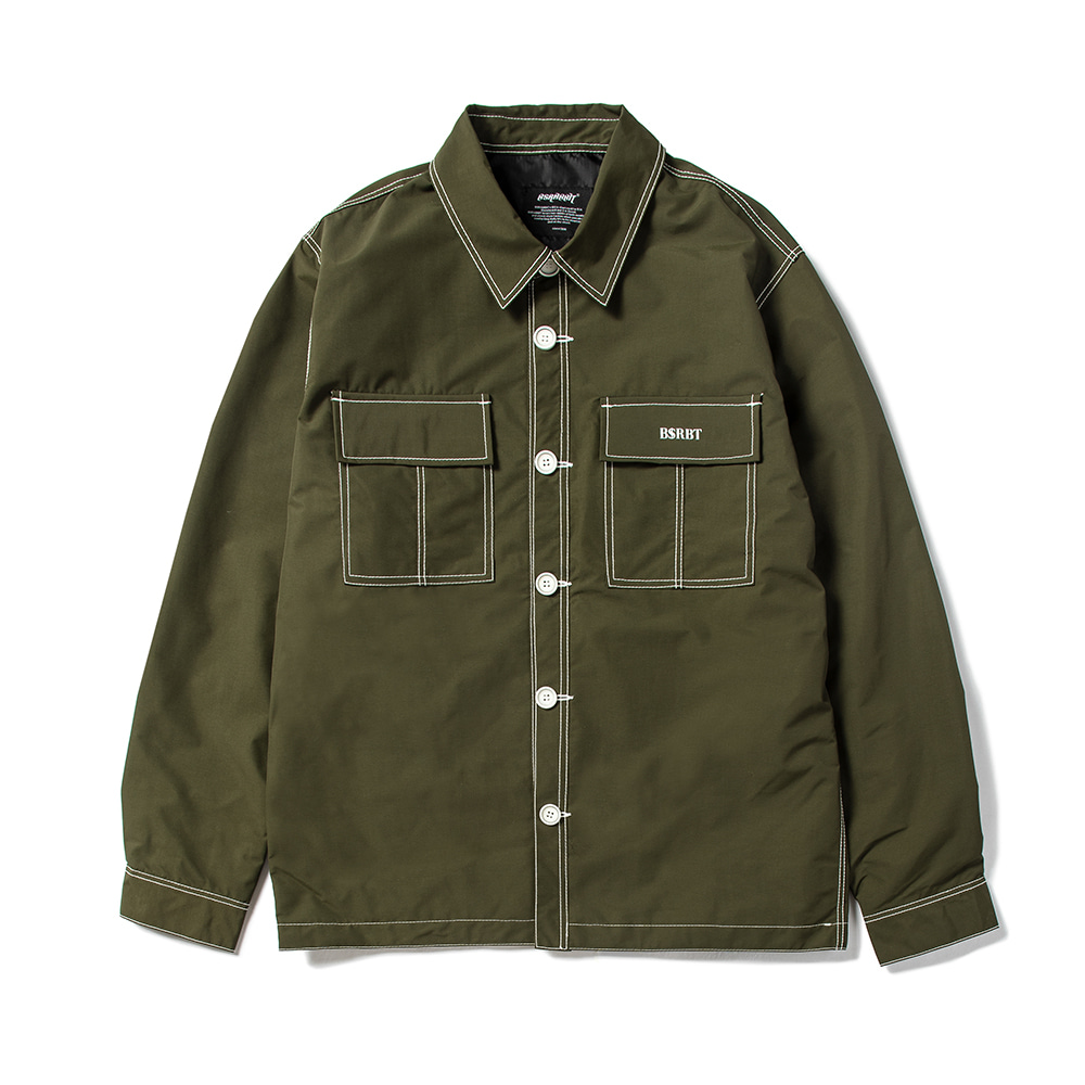 자체브랜드 STITCHES BUTTON COACH JACKET KHAKI